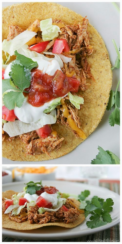 Slow Cooker Chicken Tostadas from Taste and Tell found on SlowCookerFromScratch.com