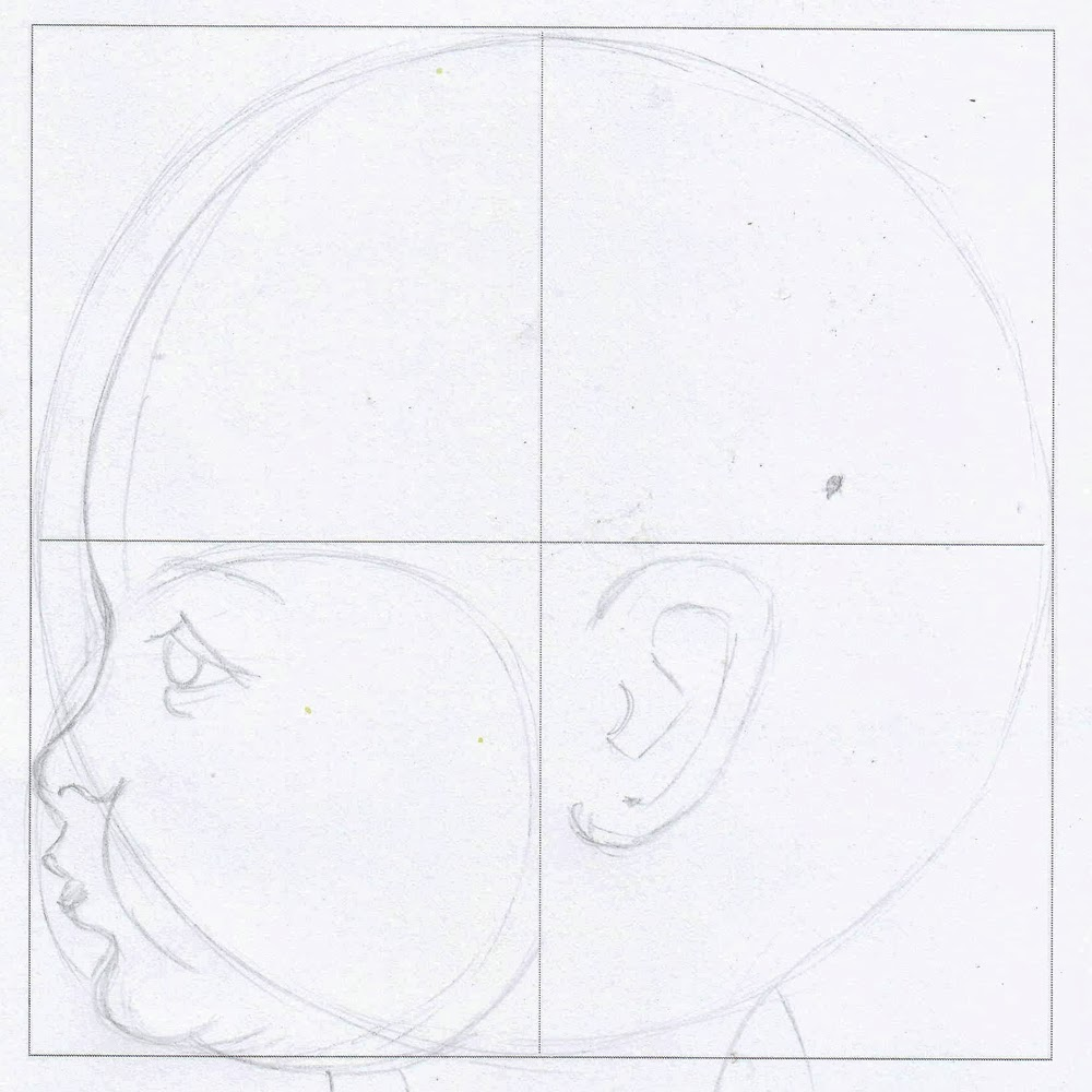 Face In Pencil How To Draw A This Sketch Begins With A Square So I  Created One Two Circles A Small One And