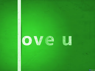 Love U Green Text Wallpaper