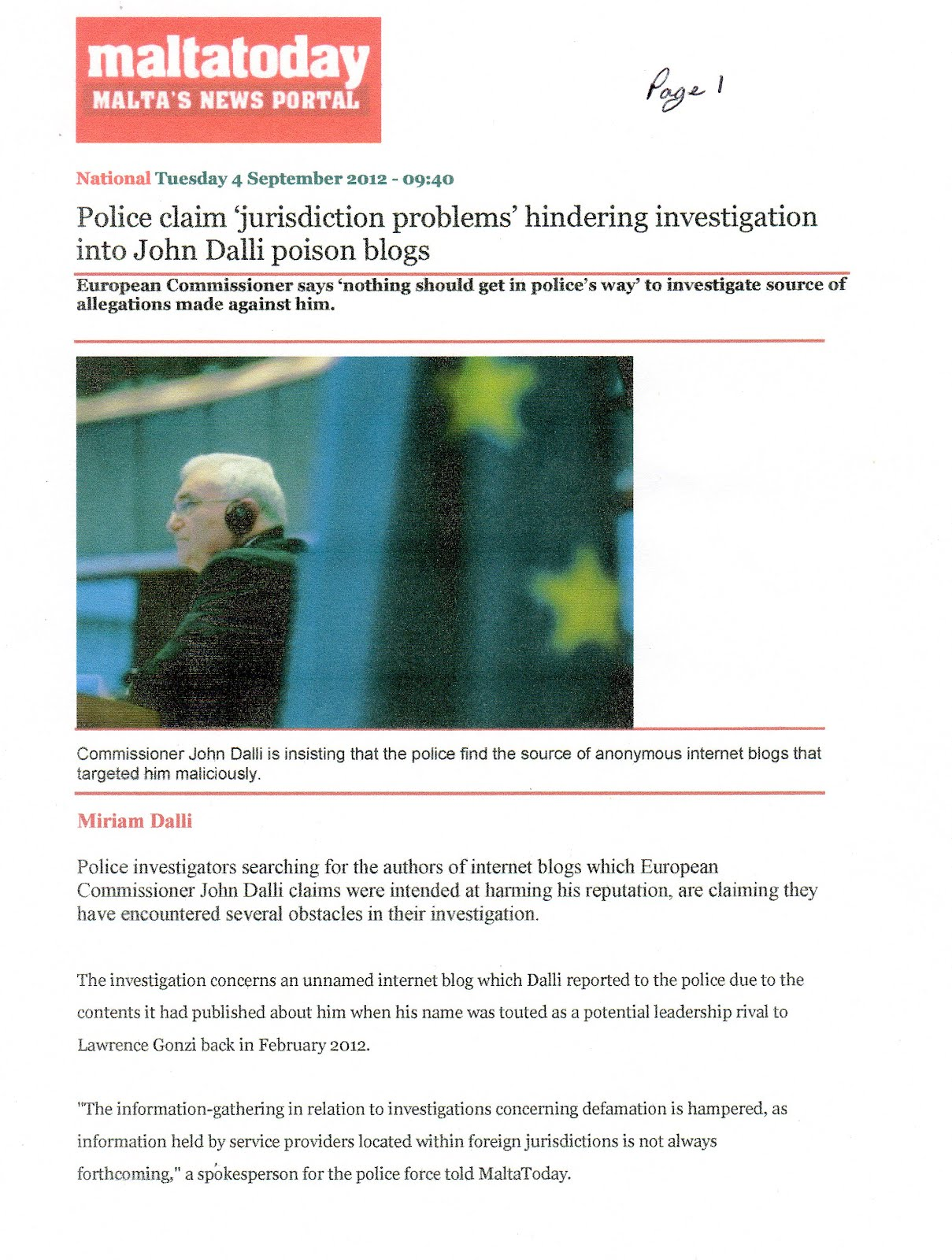 P1 - John Dalli Reports Blogs To Police
