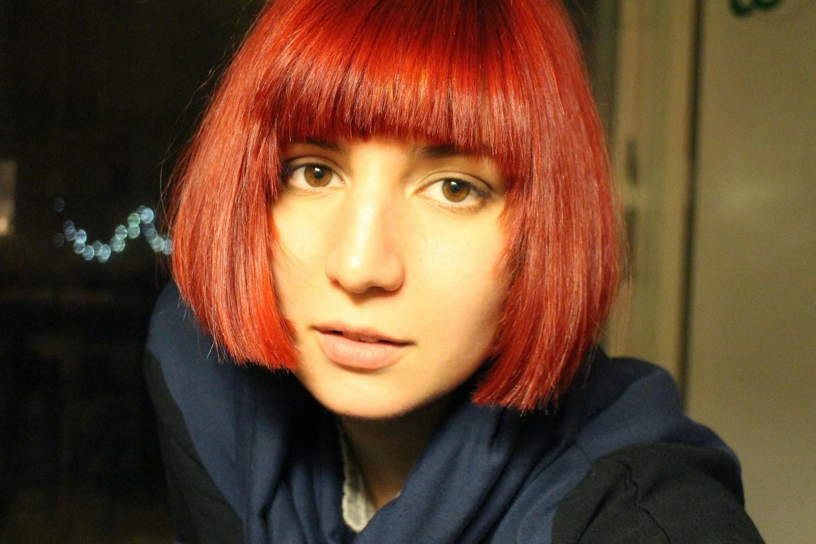 red pageboy cut, sci-fi hair, space station hair, Aveda puretone red, bob haircut, shattered bangs, ruby colored hair, jewel-tone hair, stuffeddoggie