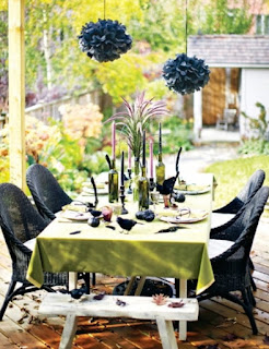 Black Halloween Table Decor by Base Decor