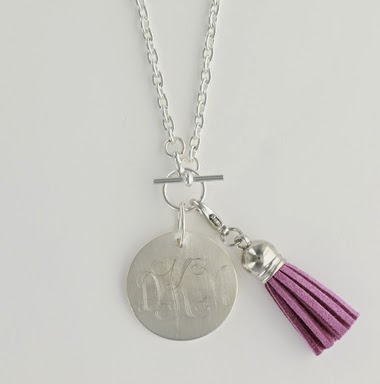 Silver Tone Monogrammed Pendant Necklace with Lavender Tassel Charm