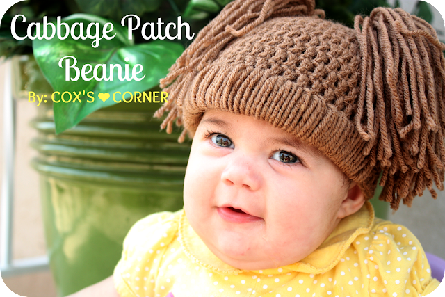 Cabbage Patch Beanie Tutorial from whatdoesthecoxsay.com #crochet #kidsbeanie #cabbagepatchbeanie