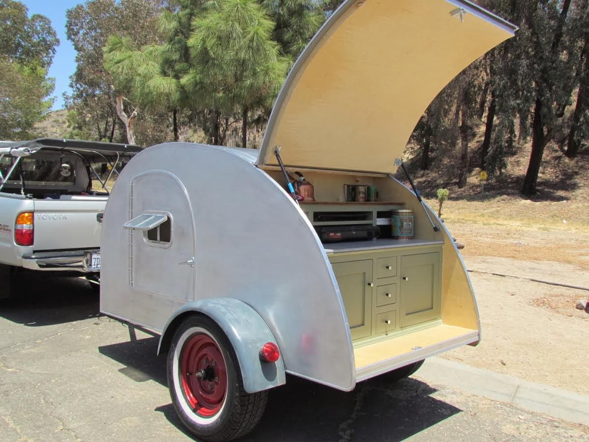 Tiny Yellow Teardrop Featured Sierra Madre Trailers