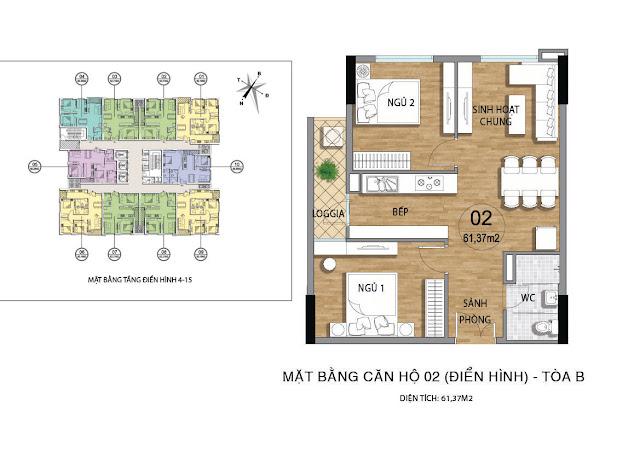 Căn hộ B02 tầng 4-15 dự án Valencia Garden