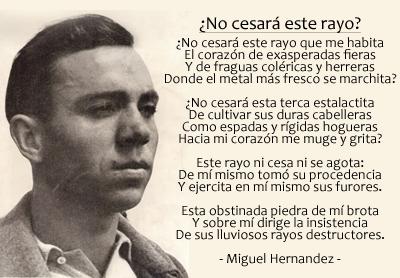 Miguel Hernández ¿No cesará este rayo?