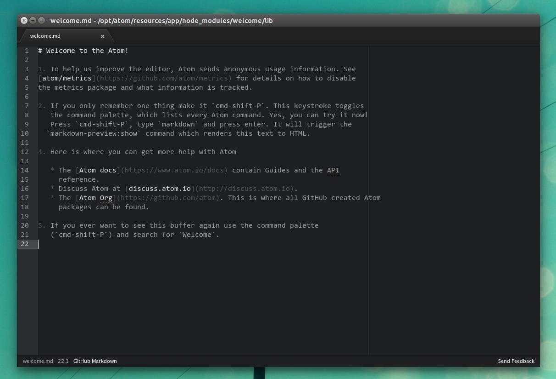 Atom text editor Linux