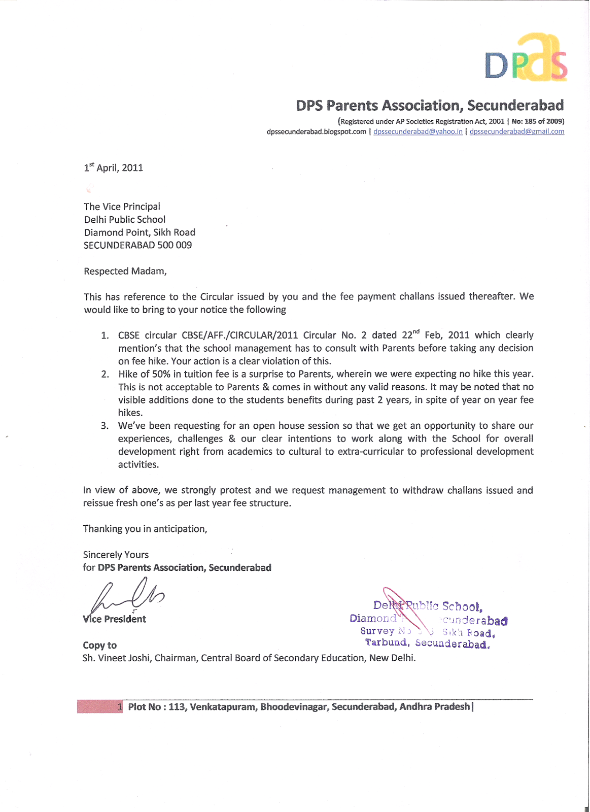 Letter To Principal DPS Parents Association Secunderabad DPaS April 2011
