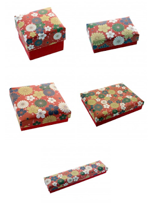 Flowers Red Textured Printed Paper Jewelry Boxes