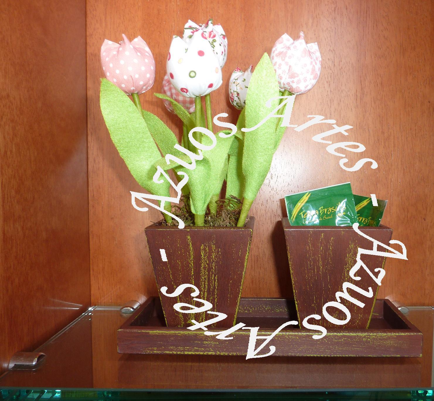 Azuos Artes Vaso de Tulipa na bandeja  Kit decoração para Banheiro -> Decoracao Banheiro Salmao