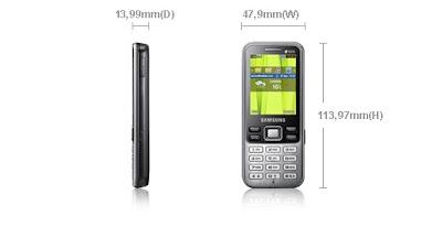 Desain dan dimensi Samsung C3322: Samsung