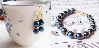 image chantal glass pearl earrings and bracelet set gold rhinestone rondelles bridal