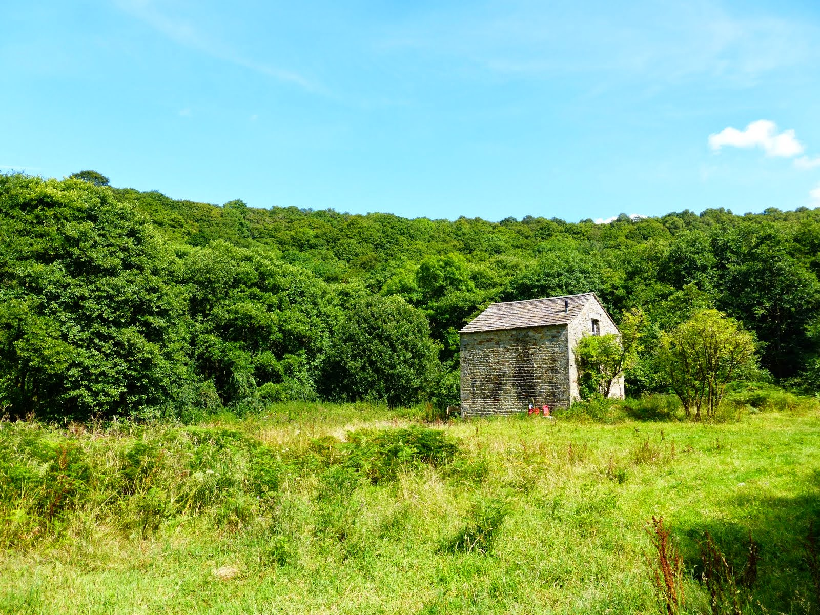 The barn is surrounded by trees,river and meadow