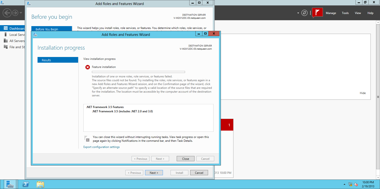 Installing net framework 3 5 on windows server 2012 for Install consul
