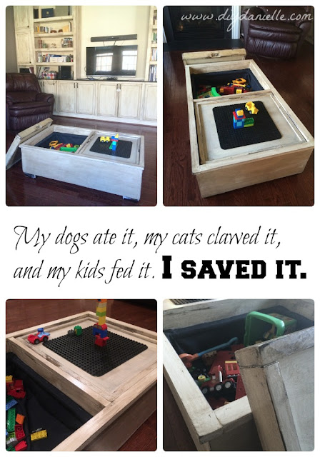 Updated storage ottoman into a fabulous toy chest and coffee table.