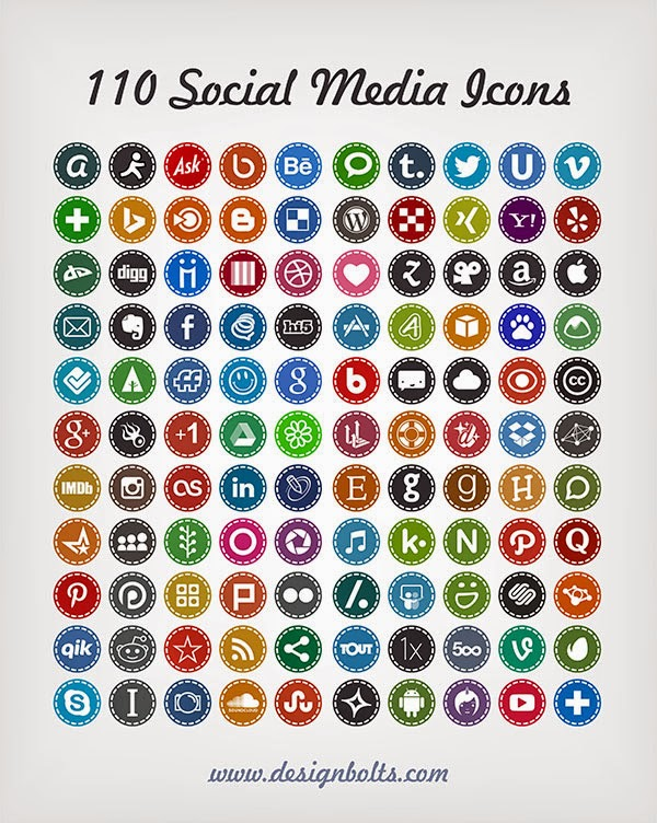 110 Hand Stitch Social Media Icons