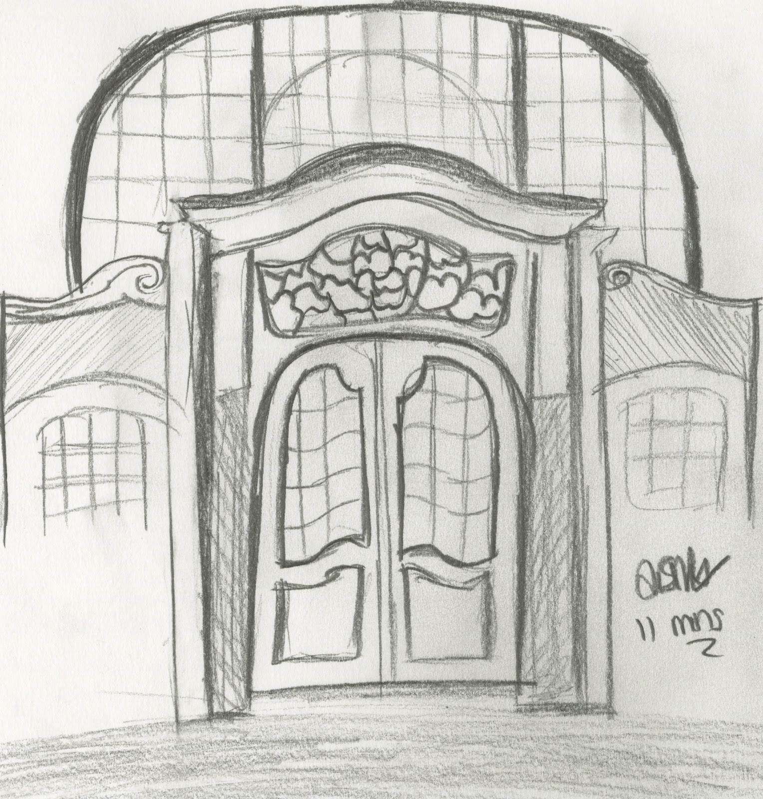 Door pencil drawing - This 11 Minute Sketch Was Drawn In An Old Church In Germany It Shows One Of The Side Doors And Was Drawn In 2b Pencil The Detail In The Window Above The