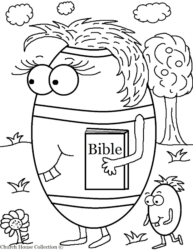 Free Easter Egg Carrying Her Bible Coloring Page For Sunday School title=