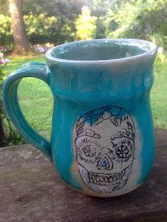 Hand Crafted Pottery Sugar Skull Mug by Future Relics Gallery