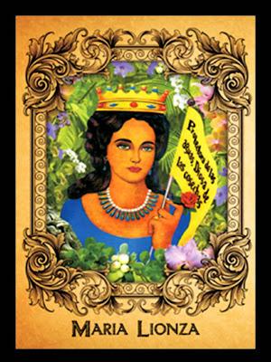 Dibujo ornamental de Maria Lionza coronada Reina
