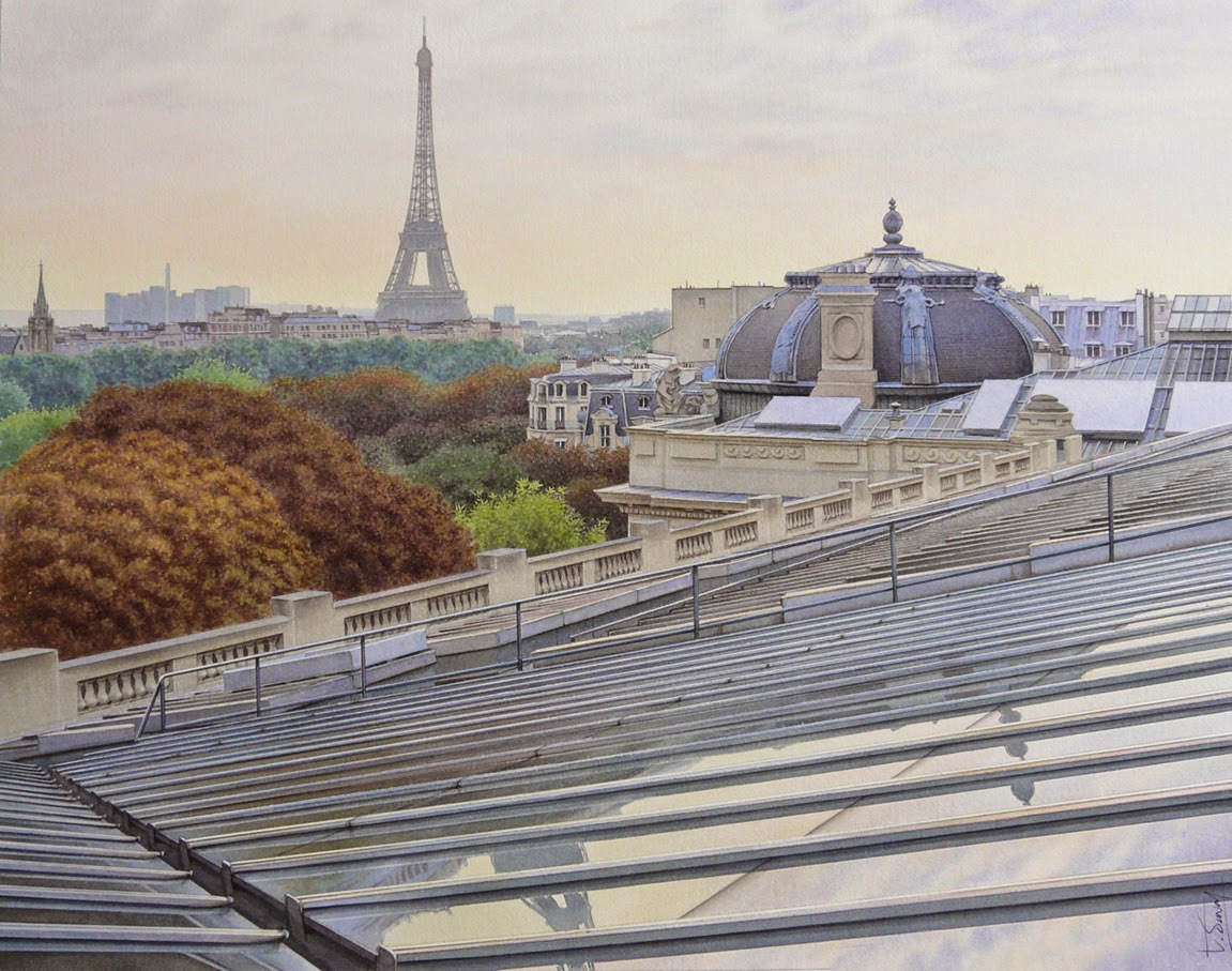 36-Grand-Palais-in-Paris-Thierry-Duval-Snippets-of Real-Life-in Watercolor-Paintings-www-designstack-co