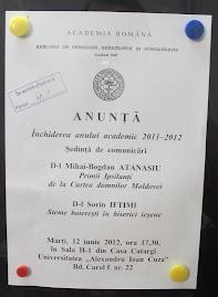 Anunţul oficial al ultimei şedinţe a  a CNHGS din anul academic  2011-2012, 12.06.2012...
