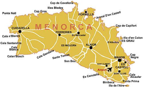 Menorca lentokenttä kartta.