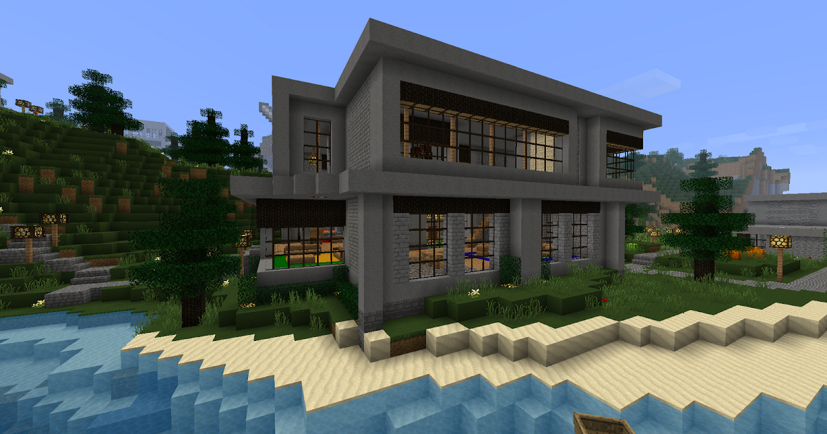 Ruked on minecraft modern house schematic 06 w library for Modern house schematic