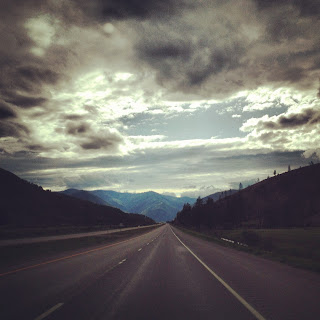 driving through the mountains in Montana