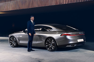 BMW Pininfarina Gran Lusso Coupe Concept left rear view with driver