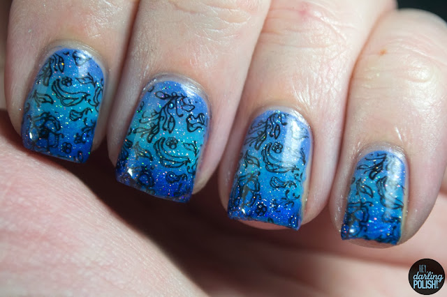 nails, nail art, nail polish, gradient, gradient nails, blue, purple, sparkle, china glaze fairy dust, stamping, bundle monster, zoya jo, zoya rocky, hey darling polish