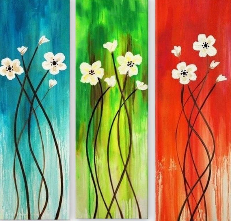 Cuadros pinturas oleos cuadros de flores tripticos - Cuadros faciles de hacer ...