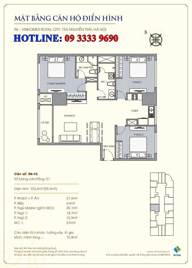 Mặt bằng căn hộ số 10 R6 Royal city