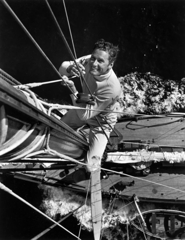 Errol Flynn on a ship