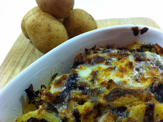 gratin di patate e radicchio al parmigiano