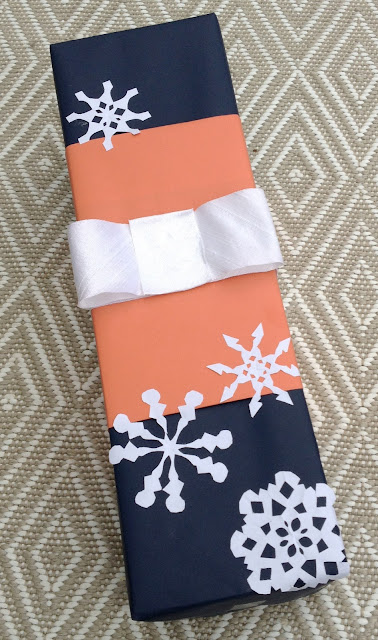 Navy and coral snowflake wrapping -- The Impatient Gardener