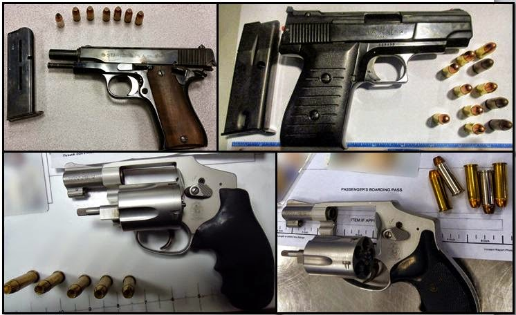 Clockwise From Top Left, Firearms Discovered in Carry-on Bags at: ATL, HOU, SNA, and MEM