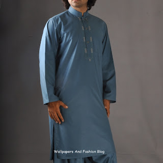 Junaid Jamshed Latest Blue Kurta Salwar (Salwar Kameez)  Designs for Men 2012