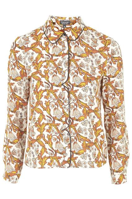 70 style shirt, topshop yellow print shirt, yellow print shirt,