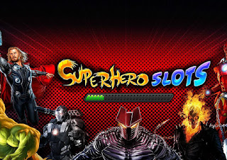 Superhero Slots loading page featuring Thor, Hulk War Machine, Destroyer, Ghost Rider and Iron Man