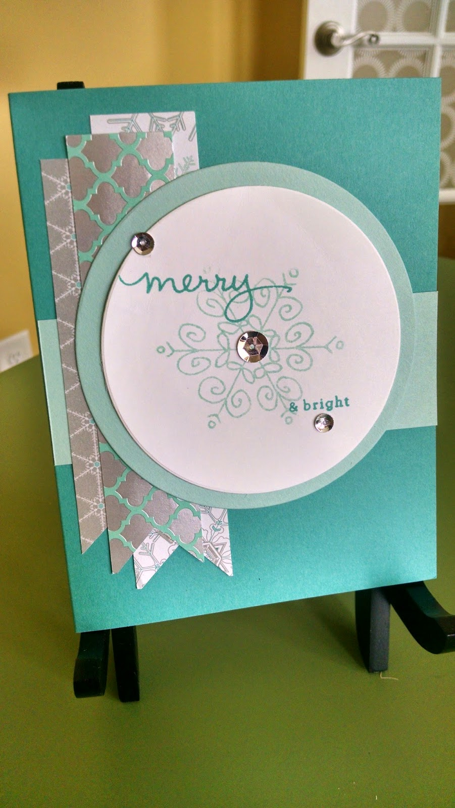 Strips of DSP make this Christmas Card, which uses the Stampin' Up! Endless Wishes set, pop