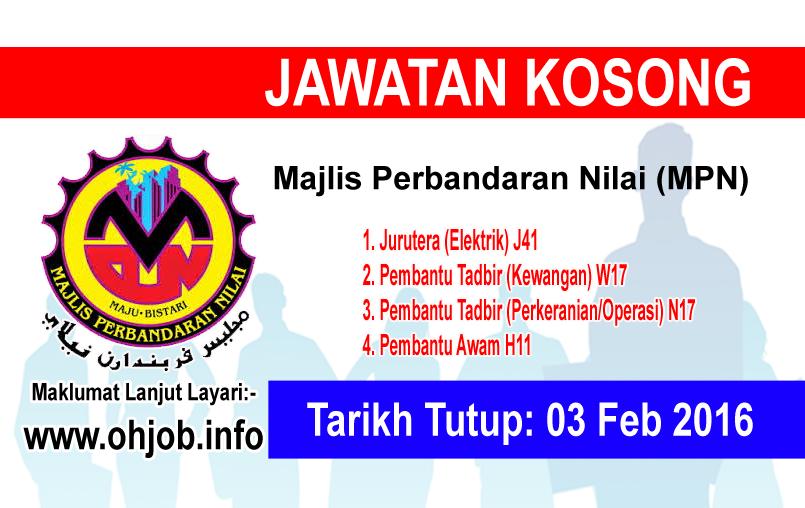 Jawatan Kerja Kosong Majlis Perbandaran Nilai (MPN) logo www.ohjob.info februari 2016