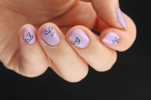 Purple Triangle Nail Art Over Zoya Leslie