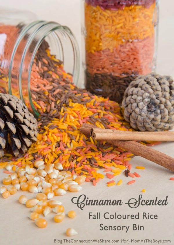 sensory activities, rice bins, cinnamon, fun, kids