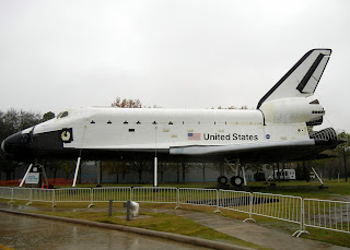 A spaceship at the entrance of the Houston Space Center.