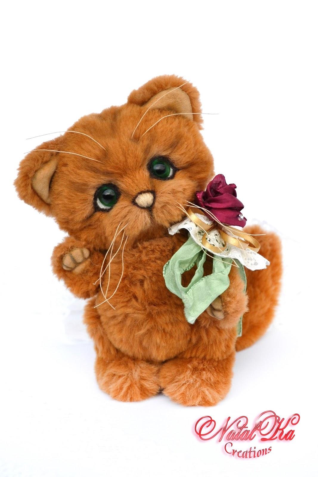 Artist teddy cat, artist teddy, teddies, ooak, handmade by NatalKa Creations. Авторский кот тедди, котенок, кошка, ручная работа в единственном экземпляре от NatalKa Creations