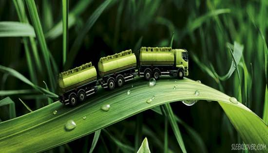 Green Truck on Leaf