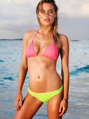 Camille Rowe hot poses in sexy bikini for Victoria's Secret Swimwear models