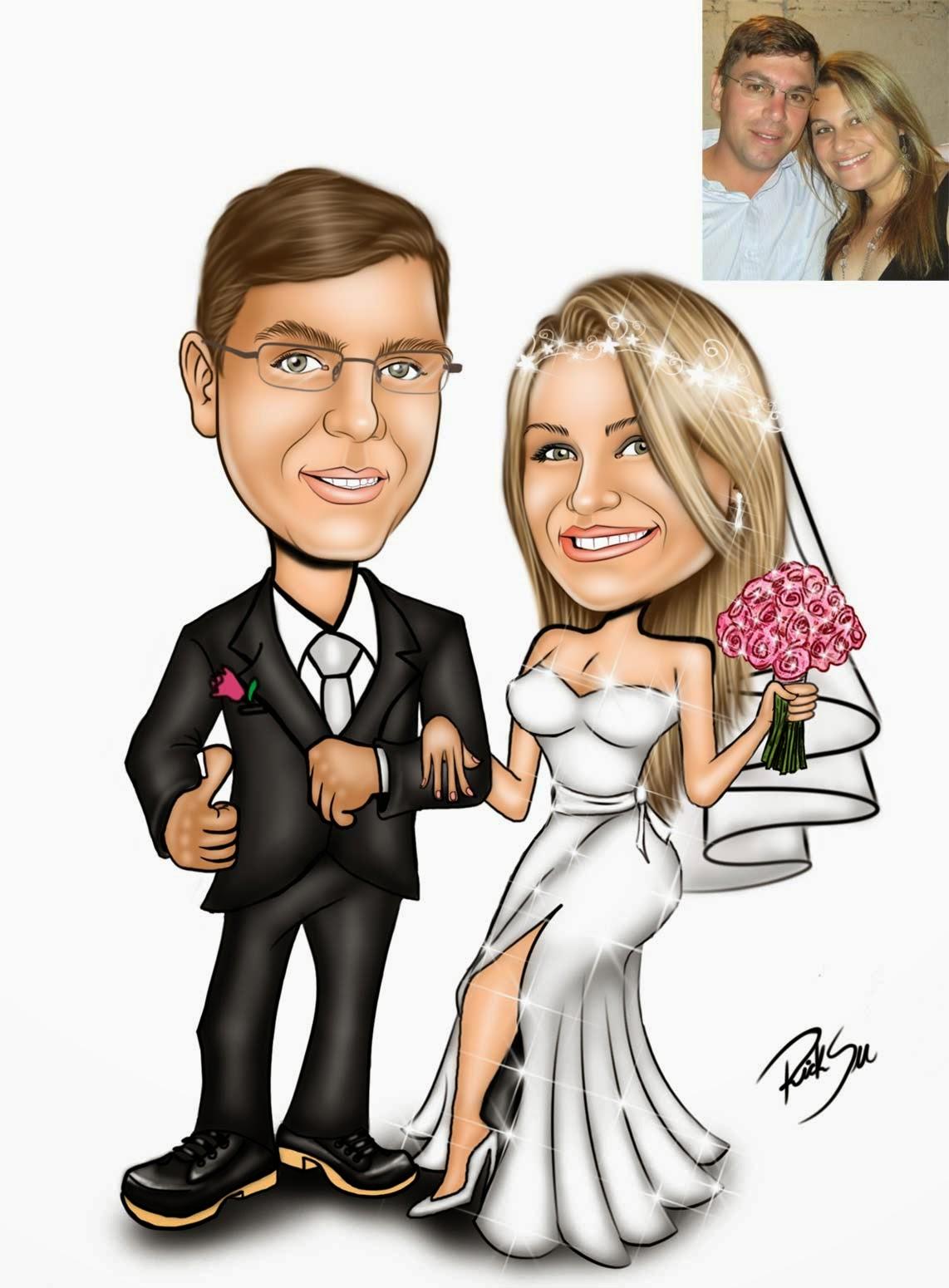 caricatura de casamento ricksu caricaturas